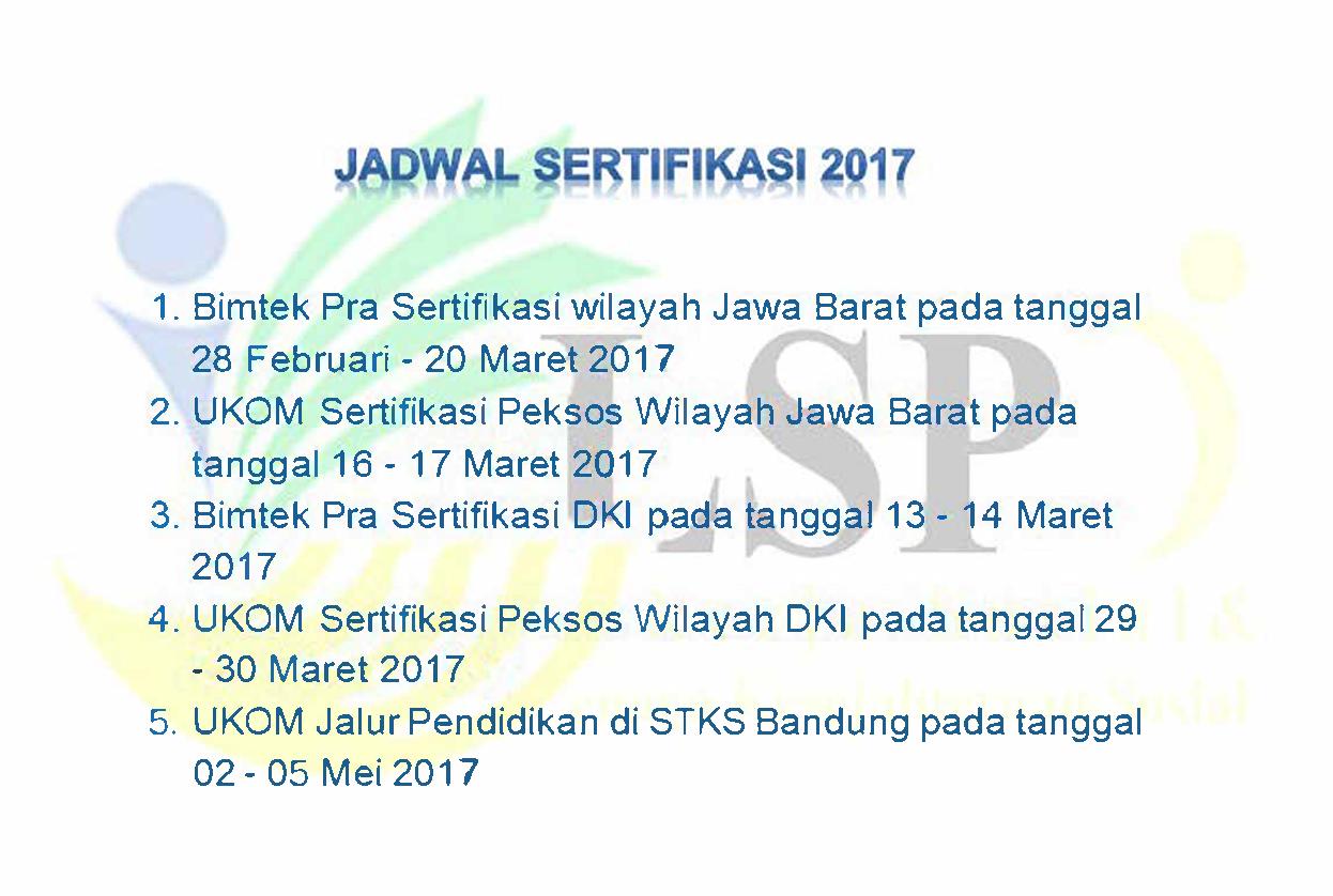 Jadwal Sertifikasi 2017